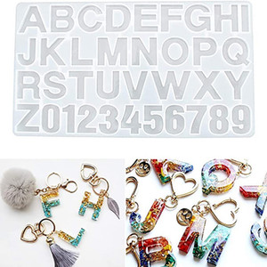 DIY Silicone Resin Mold Digital Letter Jewelry Making Decoration Silicone Molds Number Alphabet Jewelry Keychain Casting Mold