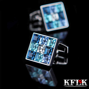 Wholesale cuffs links resale online - KFLK Jewelry shirt cufflink for mens Brand Fashion Blue Crystal Cuff link Luxury Wedding Groom Button High Quality
