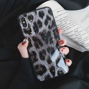Wholesale gold shine powder resale online - Vintage Leopard Pattern Gold Foil Powder Phone Case For iPhone XS Max XR XS X S Plus Shining Soft TPU Epoxy Back Cover