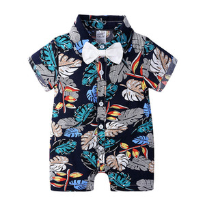 Newborn Baby Rompers 5 Colors Infant Polo Turn-down Collar Bow Jumpsuit Toddler Floral Printed Jumpsuits Vêtements Bébé Kids Onesies 060717
