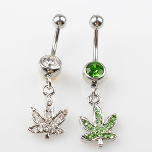 Wholesale buttons resale online - D0390 colors Stainless steel Body Piercing Jewelry Belly Button Navel Rings Dangle Charm Maple Leaf SS