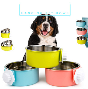 Wholesale steel cages for sale - Group buy Pet Dog Bowl Feeder Cat Hanging Bowls Pet Stainless Steel Dog Bowl dogs cage hanging fixed dog pot XD23680