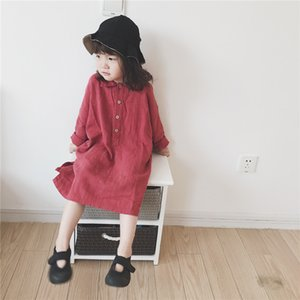 Wholesale lovely little princess dresses resale online - INS Spring Autumn Kids Little Girls Dresses Korean Style Turn down Collar Lovely Cotton Children Princess Dress Bountique Clothes