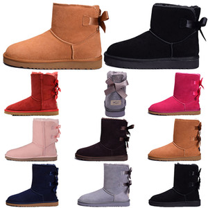 Wholesale fishing bows resale online - Keep warm womens designer boots snow ankle fur genuine leather Chestnut Khaki Grey Black bows wggboot Luxury