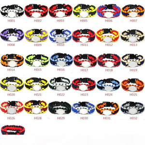 Mix Styles 32 Football Team Paracord Survival Bracelets Custom Made Camping Sports Bracelets Customized logo Team umbrella