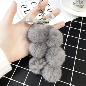 Wholesale pompom keychain faux fur for sale - Group buy 2020 New Fruit Pom Pom Ball Key Chain Faux Fur Pompom Grape Keychain Women Bag Pendant Charms Key Ring Llavero Chains