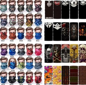 US Stock Outdoor Masks Multi-function Head Scarf Seamlessly Headband Scarf Bandanas Cycling Masks Skeleton Magic Scarf