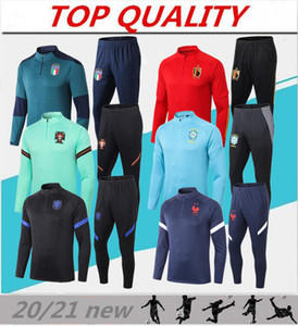 Wholesale football team jackets for sale - Group buy 2020 Italy Belgium national team soccer training suit Spain MBAPPE HAZARD football jacket Jogging tracksuit chandal