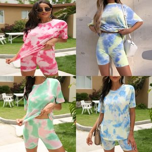 Wholesale girls shirts resale online - 2020 High End Women Girls Set Short Sleeve Vest T Shirt Ceometric Patterns Print Tee Top And Tight Leggings Cropped Trousers Set Suit