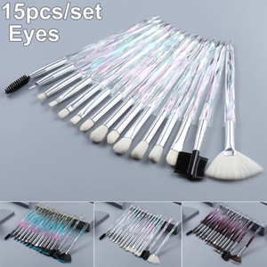 conjunto de escova de maquiagem de 15 pc venda por atacado-Eye Makeup Brush Set Brushes Handle cristal de diamante Jogo da sombra Eyeliner Blending pestana Lip escovas de cosméticos sobrancelha Make Up Ferramenta