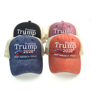 Donald Trump 2020 Baseball Cap Patchwork washed outdoor Make America Great Again hat Republican President Mesh sports cap