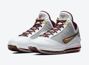 Wholesale mvp basketball shoe resale online - LeBron MVP Kids Basketball Shoes With Box High Quality James VII Fairfax China Moon White Gold Maroon Sneakers