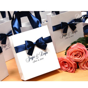 Wholesale designer bags names resale online - Personalized Navy Wedding Gift Bags with satin ribbon bow and names Elegant Paper Bag Custom Wedding Gift bags for