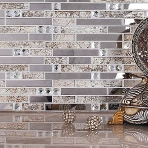 Wholesale crystal glass mosaic tiles resale online - Crystal glass mosaic tiles living room wall tiles TV background wall stickers bath tile flooring Building Materials