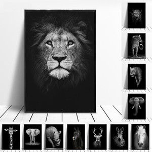 Wholesale elephants home decor resale online - Canvas Painting Animal Wall Art Lion Elephant Deer Zebra Posters and Prints Wall Pictures for Living Room Decoration Home Decor