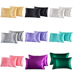 Wholesale silk pillowcases resale online - Silk Emulation Satin Pillowcase inch Solid Color Pillow Cover Summer Ice Silk Pillow Case Bedding Supplie