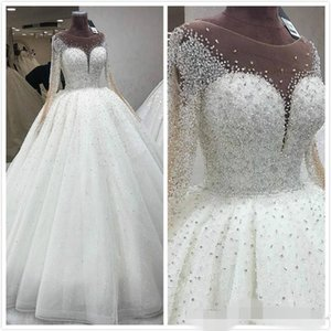 Wholesale ballgown wedding dresses for sale - Group buy Luxury Beaded Ballgown Wedding Dresses Long Sleeves Scoop Neck Sequins Floor Length Tulle Custom Made Wedding Gown vestido de novia