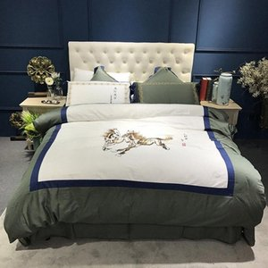 Wholesale 3d horse paintings resale online - 34 Painting Horse Galloping S Long Staple Cotton Satin Embroidery Bedding Set Duvet Cover Bed Linen Bed Sheet Pillowcases yhlr