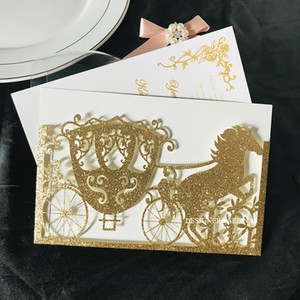 Wholesale gold wedding carriage resale online - 2020 Luxury Gold Glitter Laser Cut Carriage Wedding Invitations Printable Horse Floral Invitation Cards for Brial Shower Anniversary Party