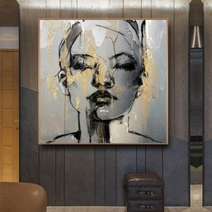 Wholesale figure face abstract oil painting resale online - Modern Abstract Golden Girl Face Oil Painting on Canvas Nordic Figure Posters Prints Wall Art Pictures for Living Room Bedroom Decor
