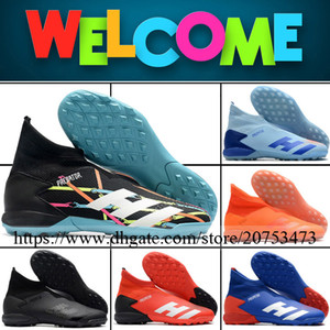 Predator Mutator 20.3 TF Mens High Ankle Football Boots Soccer Shoes Top Quality Indoor Leather Laceless Trainers Turf Socks Football Cleats