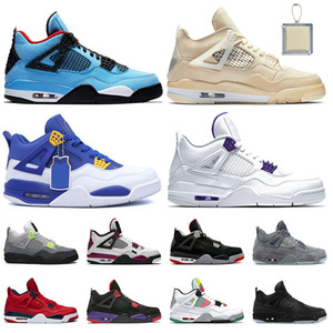 Wholesale curry 4 resale online - Travis Top quality Jumpman IV off Sail s women mens Curry Court Purple basketball shoes Neon Bred fashion trainers sneakers