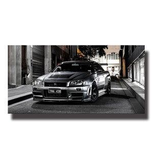 nissan gtr venda por atacado-Pinturas Tela Sports Car arte moderna Nissan Skyline GTR Car Pictures Wall Art for Living Room Home Decor No Frame