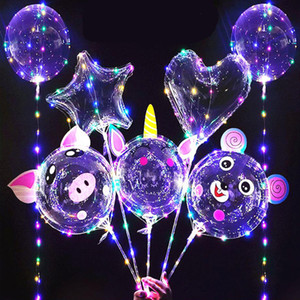 Wholesale balloon decorations resale online - 20 inch BOBO Balloon led light Multicolor Luminous cm Pole M LEDs Night Lighting for Party Balloon Wedding Holiday Decoration