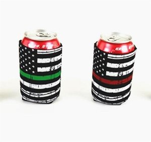 Wholesale cans sodas resale online - Neoprene Cans Cup Sleeve Soda Cover American Flags Printing Insulated Cooler Cup Sleeve Bottle Holder Cool Can Holder IIA275