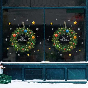 Wholesale home decor wall appliques for sale - Group buy Xmas Wall Christmas rattan ring door sticker DIY navidad Wall Window Glass Festival Applique Mural New Year Christmas Home Decor
