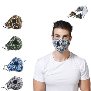 PM2.5 Adults Breath Valve Camouflage Mouth Masks Camo Print Earloop Respirator Anti-Dust Face Mask For Man and Woman HN547