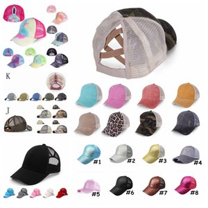 Ponytail Baseball Cap Tie Dye Sequins Messy Bun Criss Cross Snapback Caps Summer Sun Visor Outdoor Party Hat DDA68