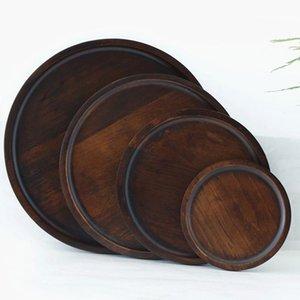 Wholesale round wooden trays resale online - Breakfast Bread Tray Round Solid Wooden Dessert Tray Plate Pizza Dish Cup Pad Fruit Platter Dish Hotel Server Trays Customize DHC40