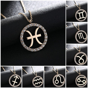 Wholesale gemini zodiac for sale - Group buy 2020 New k Gold Zodiac Sign Round Pendant Necklace Aries Gemini Libra Constellation Classic Necklace Diamond Jewelry
