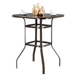 Wholesale bistro tables for sale - Group buy WACO Pub Table Glass Top Steel Outdoor Garden Balcony Poolside Lawn Dining Bistro Furniture Table Black Glass Brown Frame