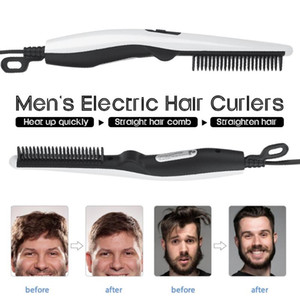 Wholesale beard straightening comb for sale - Group buy Multifunctional Hair Comb Brush Beard Straightener Hair Straighten Straightening Comb Curler Quick Styler For Men