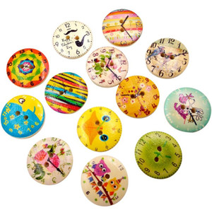 Wholesale wood vintage accessories for sale - Group buy 50PC Vintage Wood Clock Sewing Accessories Buttons Holes Sewing Scrapbooking Crafts Accessories for Clothes Bags SP18