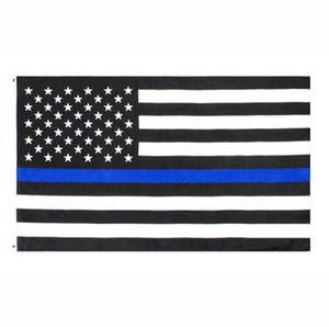 polizei-flaggen großhandel-USA Flagge Direkte Fabrik Großhandel x5Fts cmx150cm Law Enforcement Officers USA US amerikanische Polizei Thin Blue Line Flag EEA1786