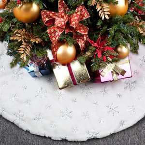 Wholesale tree skirts for sale - Group buy OHEART White Plush Christmas Tree Skirt carpet Faux Fur Embroidered Snowflake Sequin Xmas Tree Skirt Decorations New Year cm