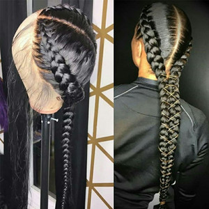 Wholesale braided brazilian hair wigs for sale - Group buy Pre Plucked Full Lace Human Hair Wigs With Baby Hair Straight Brazilian Transparent Lace Wig Braided Glueless Full Lace Wig Remy