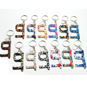 Wholesale ring door resale online - Monogram Disc Blanks No Contact Print Floral Acrylic Key Door Opener Key Ring Touchless Tool Hands free Contactless Tool Keychain