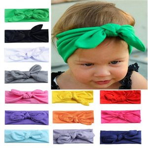 INS Baby Girl Bunny Ear Headband Lovely Spandex Bow Headbands Solid Color Rabbit Ear Hairbands Hair Band Elastic Knot Hair Accessories 2020