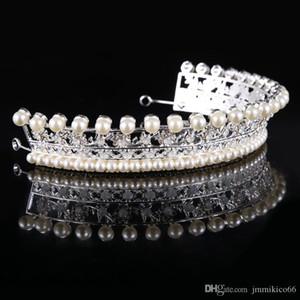Wholesale sterling silver hair barrette resale online - NEW Bridal accessories crown bridal alloy with pearl rhinestones hair accessories bridal tiara wedding dress modeling accessories