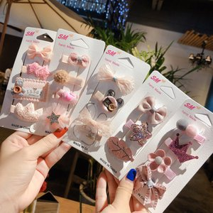Wholesale baby girl princess crown headband resale online - 4 set Baby Hair Clips Cartoon Lace Flower Crown Bows Baby Hair Accessories Princess Girls Hairpins Headband Barrettes