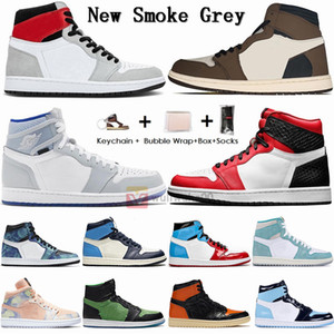 With Box Socks Size 13 Jumpman 1 Sneakers Smoke Grey Travis Scotts UNC 1s Mens Basketball Shoes Chicago turbo green Obsidian Women Trainers