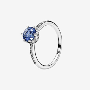 Wholesale wedding jewelry crown rhinestone resale online - NEW Blue Sparkling Crown Ring Summer Jewelry for Pandora Sterling Silver Wedding Rings with Original box for Women
