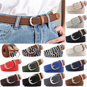 Wholesale men belt canvas webbing for sale - Group buy Unisex Canvas Webbing Slim Belt Leather Trim Elastic Woven Braided Waistband leather luxury strap male belt for men High Quality
