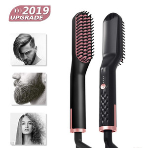 Wholesale beard straightening comb resale online - 3 in Hair Straightener Brush Anti Static Ceramic Heating Detangling Faster Straightening Beard Comb For Man Beard Straightener CX200721
