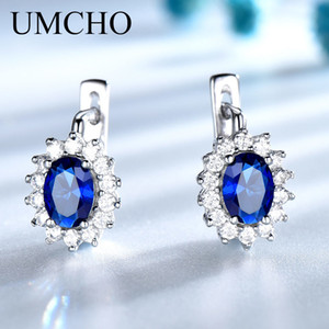 Wholesale blue sapphire earrings sterling silver resale online - UMCHO Colorful Gemstone Blue Sapphire Clip Earrings Real Sterling Silver Earrings For Women Engagement Gifts Fine Jewelry CX200803