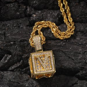 Wholesale gold cubes necklace for sale - Group buy Iced Out Initial Letter Necklace Pendant Gold Silver Cube Dice Hiphop Necklace Mens Hip Hop Jewelry